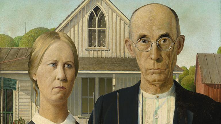 """Grant Wood, """"American Gothic,"""" 1930. (Friends of American Art Collection. The Art Institute of Chicago)"""
