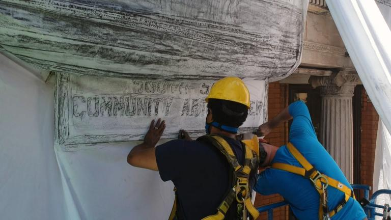 Artist Faheem Majeed and students spent six days in August 2020 laying sheets across the South Side Art Center to make a graphite rubbing of the building. (Courtesy Steven Rosofsky / Moving Pictures)