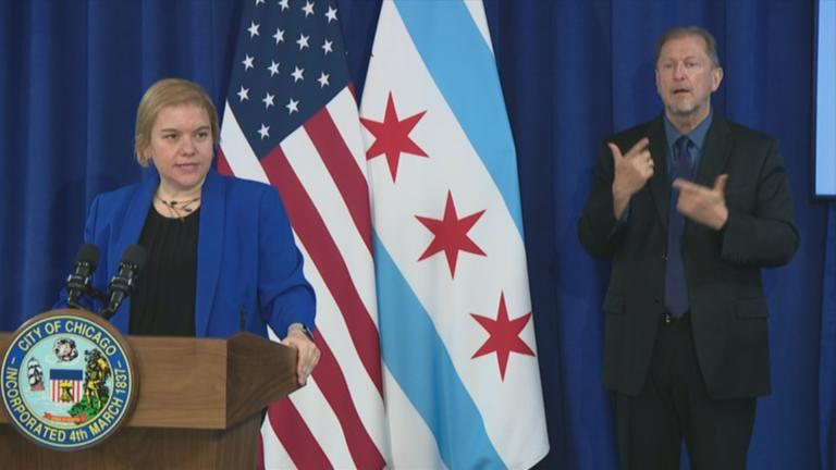Chicago Department of Health Commissioner Dr. Allison Arwady speaks to the media during a briefing on the coronavirus Tuesday, Nov. 17, 2020. (WTTW News)