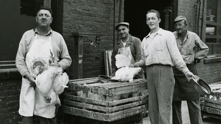 Fulton Market was once an integral part of Chicago's meatpacking industry. (Courtesy of the Chicago History Museum)