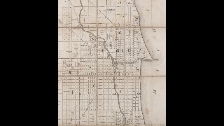 Chicago ward map from 1849