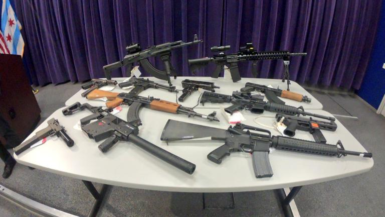 An array of assault weapons recovered this year by the Chicago Police Department. (Chicago Police Department / Twitter)