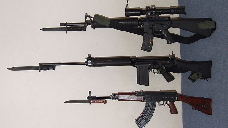 Assault rifles (Jan Hrdonka via Wikimedia Commons)