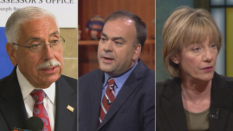 Cook County Assessor Joseph Berrios, left, Fritz Kaegi and Andrea Raila.
