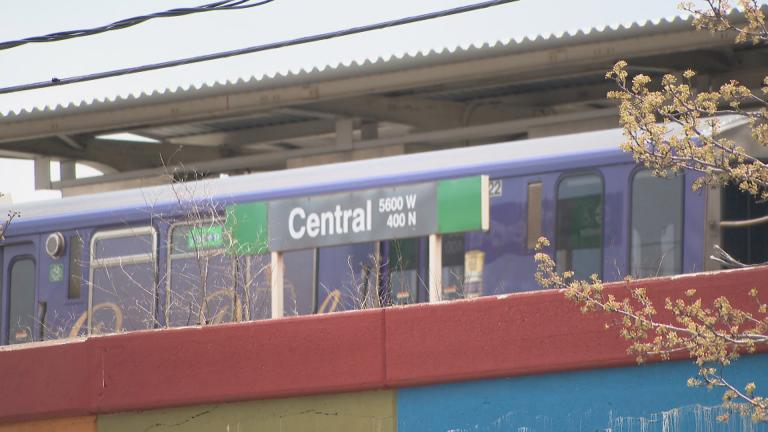 The Central Green Line CTA stop in the Austin community. (WTTW News)