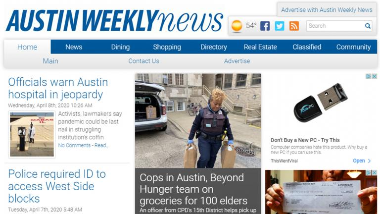 An image of the homepage of the Austin Weekly News website on Tuesday, April 4, 2020. (WTTW News)