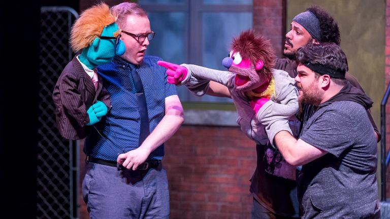 "Christian Siebert, Jonah D. Winston and Dan Smeriglio in ""Avenue Q"" at Mercury Theater. (Credit: Brett A. Beiner)"