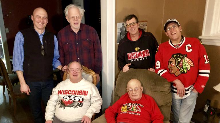 Jay Shefsky with the men of Amundsen House. Clockwise, from top left: Jay Shefsky, Allan Rehwinkel, Bill Rogers, Louis Kaufman, Jim Kearns, George Minasian.
