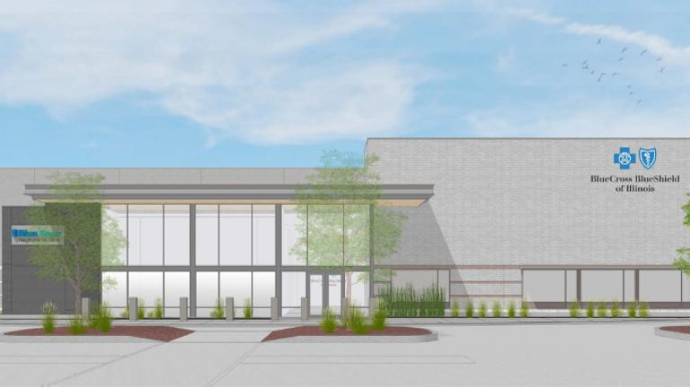 A rendering of the new BCBS center in Morgan Park. (Blue Cross and Blue Shield of Illinois / Facebook)