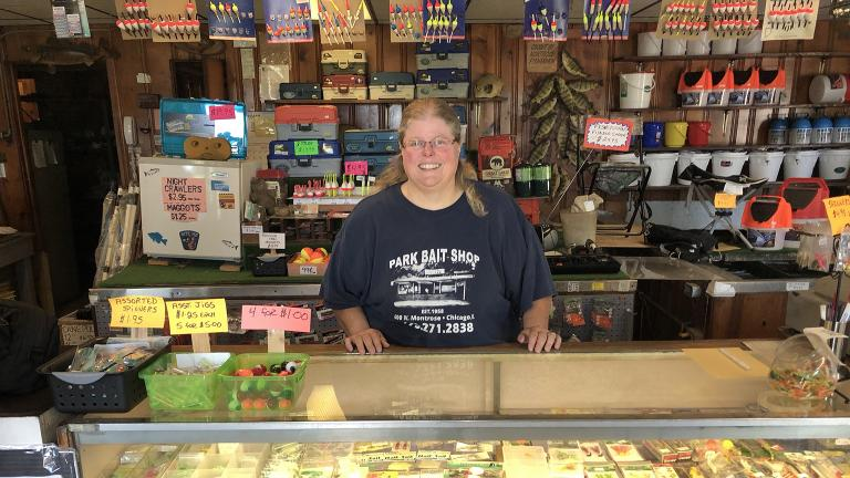Stacey Greene is the owner of Park Bait Shop at Montrose Harbor. (Jay Shefsky / Chicago Tonight)