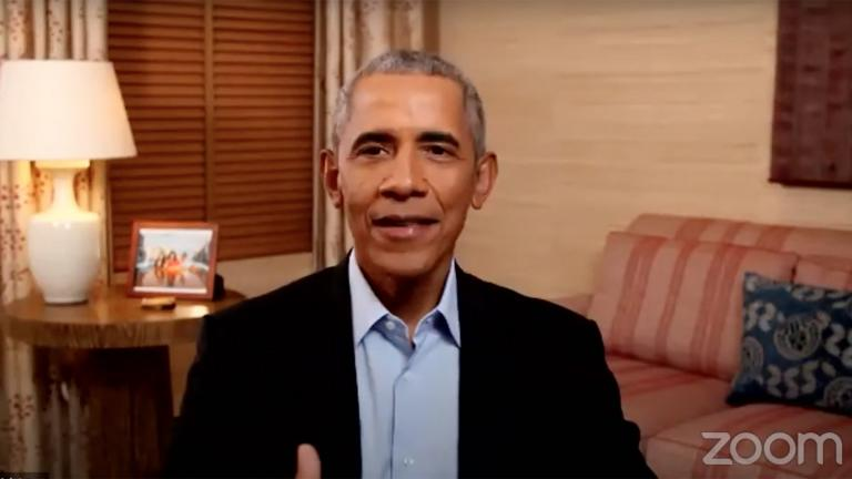 President Barack Obama speaks to thousands of Chicago Public Schools students during a surprise Zoom call Monday, Nov. 23, 2020. (Chicago Public Schools / YouTube)