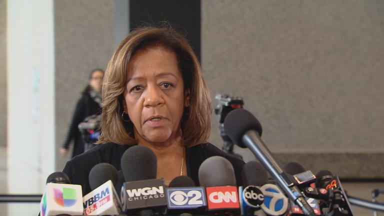 "Barbara Byrd-Bennett speaks to the press following an October 2015 arraignment. ""My message is for the children and the families of the children of Chicago Public Schools and the incredible, dedicated educators we have: I am terribly sorry, and I apologize to them."" Byrd-Bennett will be sentenced in federal court Friday. (Chicago Tonight)"