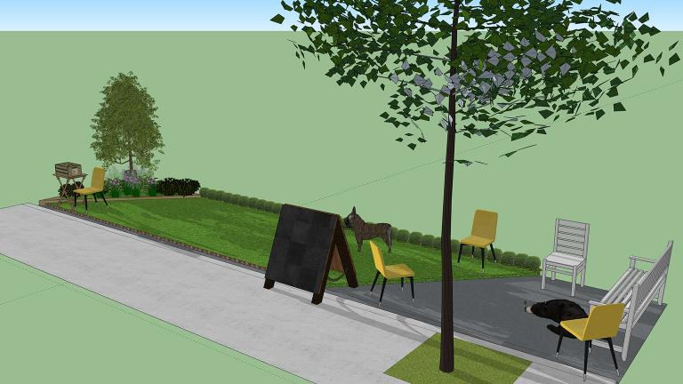 A rendering of the dog-friendly green space planned for two parking spaces in River North on Friday, Sept. 21. (Courtesy of The Anti-Cruelty Society)
