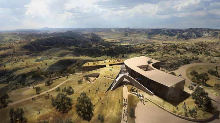 "Bird's-eye rendering of Studio Gang's proposed Teddy Roosevelt Presidential Library ""basecamp."" (Studio Gang)"