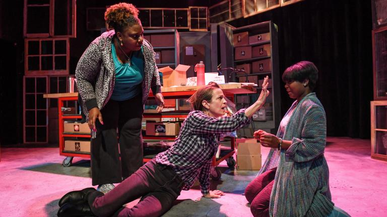 "From left: Deanna Reed-Foster, Rebecca Jordan and Demetra Dee in Shattered Globe Theatre's Chicago premiere of ""Be Here Now."" (Photo by Evan Hanover)"