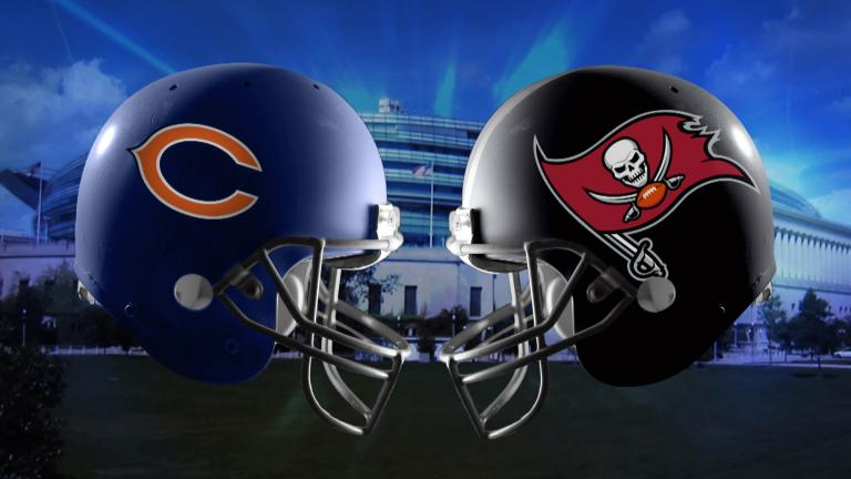 """Former Bears offensive lineman James """"Big Cat"""" Williams give us his take on Fields as starter and his three keys to the game against the Buccaneers. (WTTW News graphic)"""