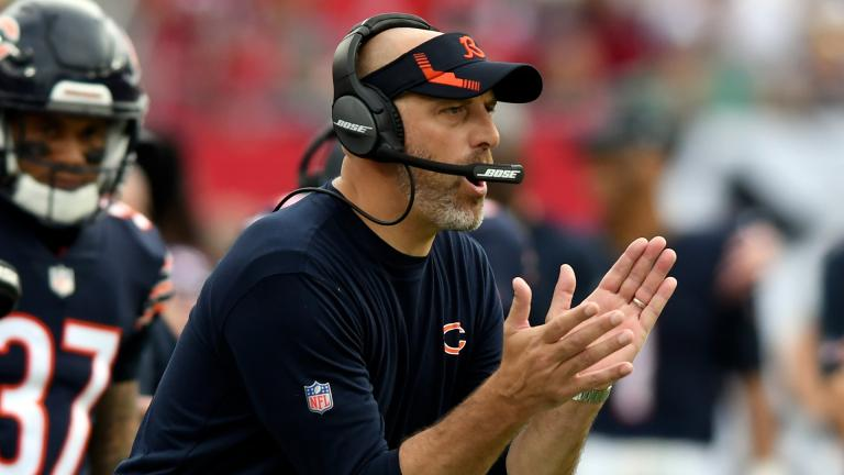 Chicago Bears head coach Matt Nagy reacts during the first half of an NFL football game against the Tampa Bay Buccaneers Sunday, Oct. 24, 2021, in Tampa, Fla. (AP Photo / Jason Behnken)