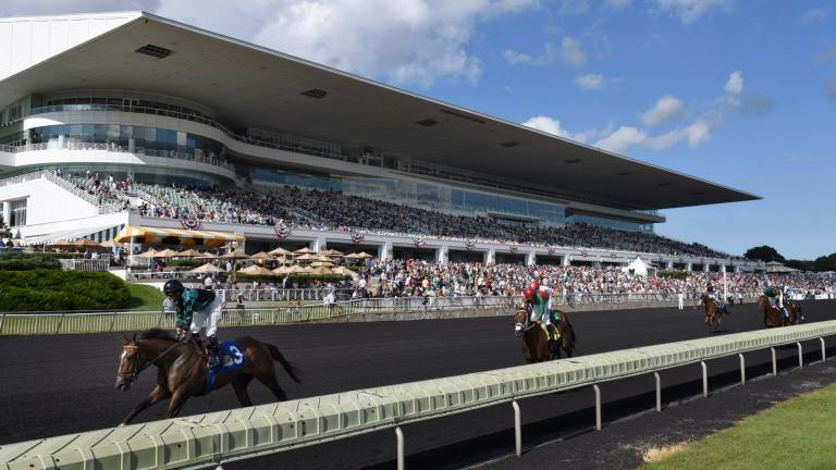 In this Aug. 12, 2017, file photo, horses in the Bruce D. Memorial Stakes pass the grandstand at Arlington International Racecourse in Arlington Heights, Illinois. (John Starks / Daily Herald via AP, File)
