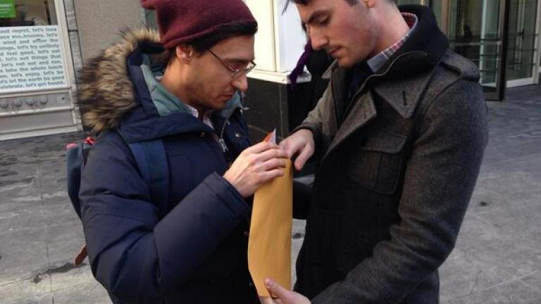 Charlie Gurion and David Wilk are the first gay couple to get a marriage license on Feb. 21, 2014.