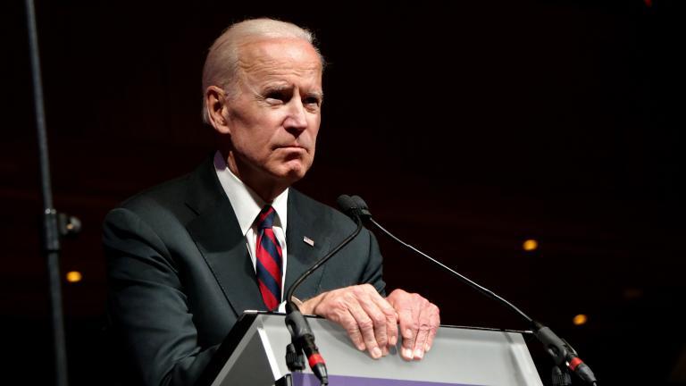 Former Vice President Joe Biden speaks at Northwestern University on March 9. (Evan Garcia / Chicago Tonight)