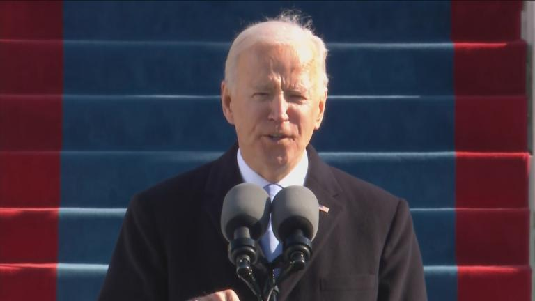 President Joe Biden talks about the rise white supremacy in his inaugural address on Jan. 20, 2021. (WTTW News via CNN)