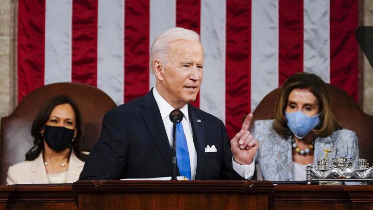 FILE - In this April 28, 2021, file photo President Joe Biden addresses a joint session of Congress in the House Chamber at the U.S. Capitol in Washington, as Vice President Kamala Harris, left, and House Speaker Nancy Pelosi of Calif., look on.  (Melina Mara / The Washington Post via AP, Pool)
