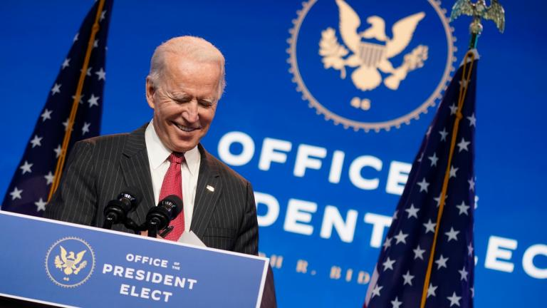 President-elect Joe Biden, accompanied by Vice President-elect Kamala Harris, speaks at The Queen theater, Thursday, Nov. 19, 2020, in Wilmington, Del. (AP Photo / Andrew Harnik)
