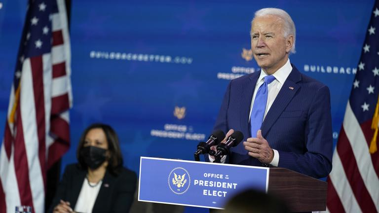 President-elect Joe Biden speaks as Vice President-elect Kamala Harris listens at left, during an event to introduce their nominees and appointees to economic policy posts at The Queen theater, Tuesday, Dec. 1, 2020, in Wilmington, Del. (AP Photo / Andrew Harnik)