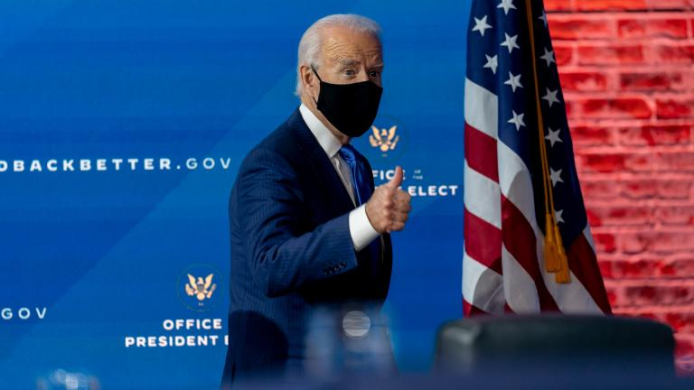 President-elect Joe Biden departs a news conference after introducing his nominees and appointees to economic policy posts at The Queen theater, Tuesday, Dec. 1, 2020, in Wilmington, Del. (AP Photo / Andrew Harnik)