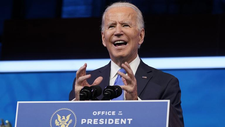 President-elect Joe Biden speaks after the Electoral College formally elected him as president, Monday, Dec. 14, 2020, at The Queen theater in Wilmington, Del. (AP Photo / Patrick Semansky)
