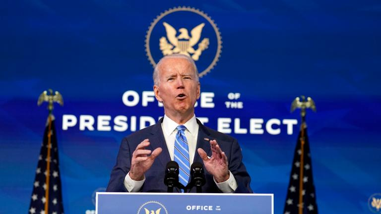 President-elect Joe Biden speaks about the COVID-19 pandemic during an event at The Queen theater, Thursday, Jan. 14, 2021, in Wilmington, Del. (AP Photo / Matt Slocum)