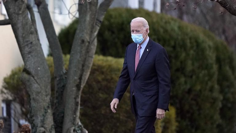 President-elect Joe Biden departs the St. Joseph on the Brandywine Catholic Church, Saturday, Jan. 16, 2021, in Wilmington, Del. (AP Photo / Matt Slocum)
