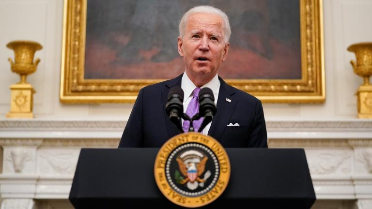 President Joe Biden speaks about the coronavirus in the State Dinning Room of the White House, Thursday, Jan. 21, 2021, in Washington. (AP Photo / Alex Brandon)