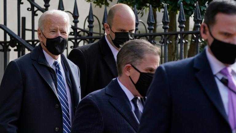 President Joe Biden departs after attending mass at Holy Trinity Catholic Church, Sunday, Jan. 24, 2021, in the Georgetown neighborhood of Washington. (AP Photo / Patrick Semansky)