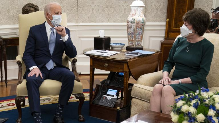 President Joe Biden meets with Sen. Susan Collins, R-Maine, to discuss a coronavirus relief package, in the Oval Office of the White House, Monday, Feb. 1, 2021, in Washington. (AP Photo / Evan Vucci)