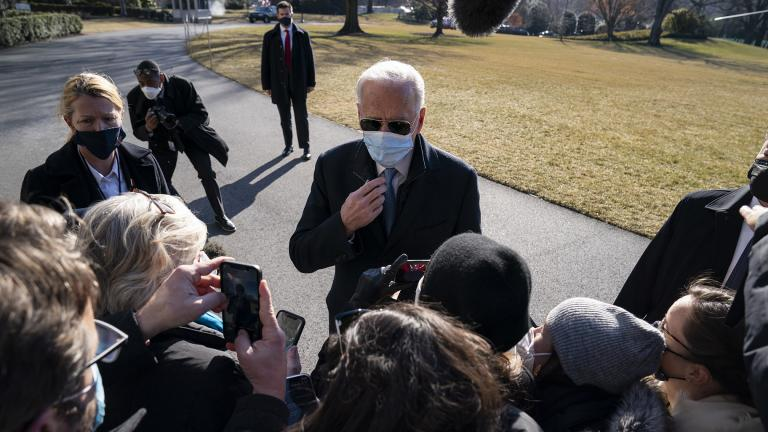 President Joe Biden talks with reporters after arriving on the South Lawn of the White House, Monday, Feb. 8, 2021, in Washington. (AP Photo / Evan Vucci)