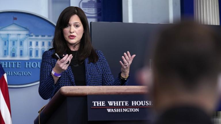 White House deputy national security adviser Anne Neuberger speaks during a press briefing, Wednesday, Feb. 17, 2021, in Washington. (AP Photo/Evan Vucci)