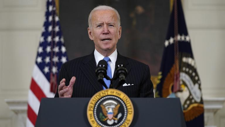 President Joe Biden speaks about efforts to combat COVID-19, in the State Dining Room of the White House, Tuesday, March 2, 2021, in Washington. (AP Photo / Evan Vucci)
