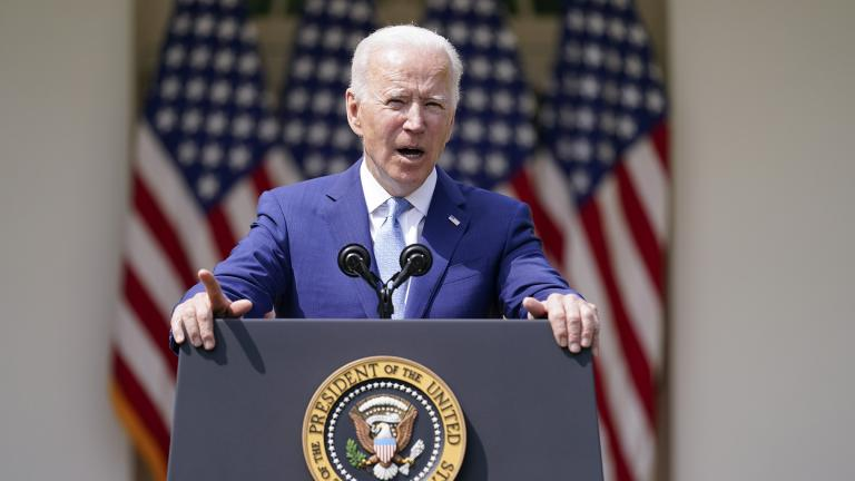 President Joe Biden speaks about gun violence prevention in the Rose Garden at the White House, Thursday, April 8, 2021, in Washington. (AP Photo / Andrew Harnik)