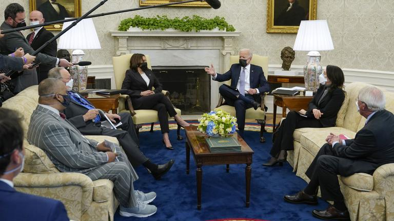 President Joe Biden and Vice President Kamala Harris meet with lawmakers to discuss the American Jobs Plan in the Oval Office of the White House, Monday, April 12, 2021, in Washington. (AP Photo / Patrick Semansky)