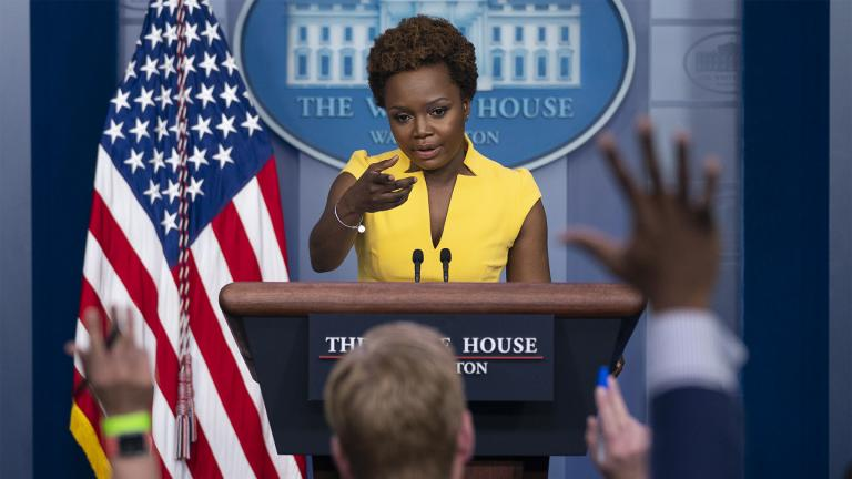 White House deputy press secretary Karine Jean-Pierre speaks during a press briefing at the White House, Wednesday, May 26, 2021, in Washington. (AP Photo / Evan Vucci)