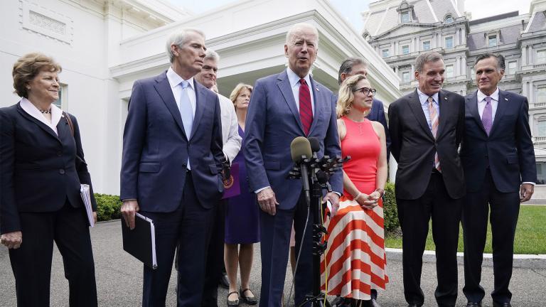 President Joe Biden, with a bipartisan group of senators, speaks Thursday June 24, 2021, outside the White House in Washington. (AP Photo / Jacquelyn Martin)