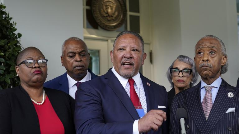 Marc Morial, center, President and Chief Executive Officer of the National Urban League, talks with reporters outside the West Wing of the White House in Washington, Thursday, July 8, 2021, following a meeting with President Joe Biden and leadership of top civil rights organizations. (AP Photo / Susan Walsh)