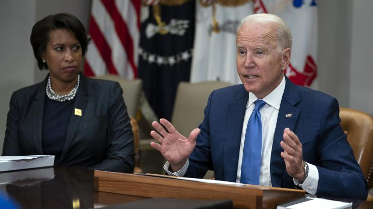 Washington Mayor Muriel Bowser listens as President Joe Biden speaks during a meeting on reducing gun violence, in the Roosevelt Room of the White House, Monday, July 12, 2021, in Washington. (AP Photo / Evan Vucci)