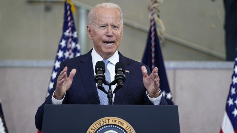 President Joe Biden delivers a speech on voting rights at the National Constitution Center, Tuesday, July 13, 2021, in Philadelphia. (AP Photo / Evan Vucci)