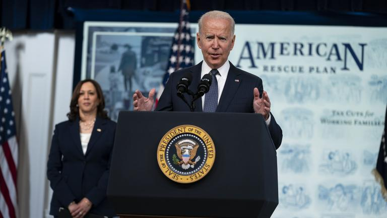 Vice President Kamala Harris listens as President Joe Biden speaks during an event to mark the start of monthly Child Tax Credit relief payments, in the South Court Auditorium on the White House complex, Thursday, July 15, 2021, in Washington. (AP Photo / Evan Vucci)