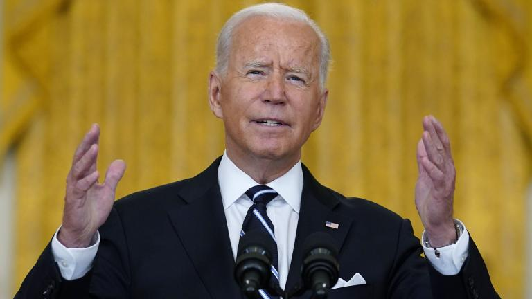 President Joe Biden speaks from the East Room of the White House in Washington, Wednesday, Aug 18, 2021, on the COVID-19 response and vaccination program. (AP Photo / Susan Walsh)