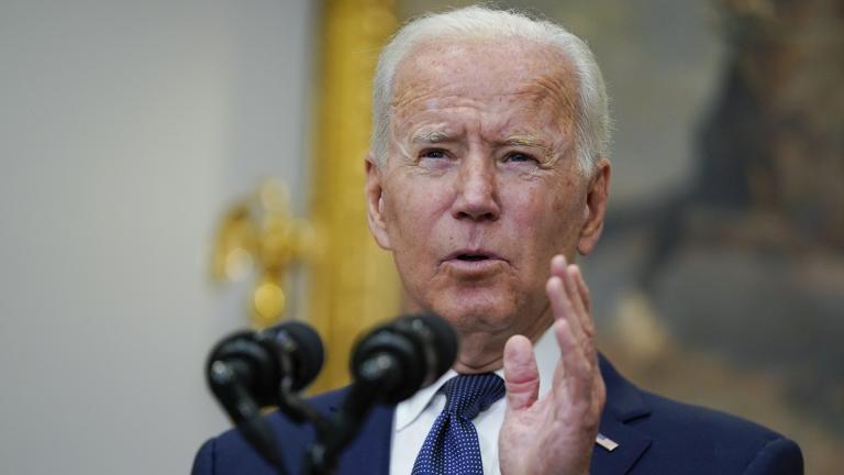 President Joe Biden speaks about Hurricane Henri and Afghanistan evacuations in the Roosevelt Room of the White House, Sunday, Aug. 22, 2021, in Washington. (AP Photo / Manuel Balce Ceneta)