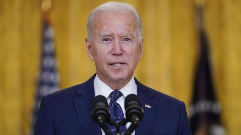 President Joe Biden speaks about the bombings at the Kabul airport that killed at least 12 U.S. service members, from the East Room of the White House, Thursday, Aug. 26, 2021, in Washington. (AP Photo / Evan Vucci)