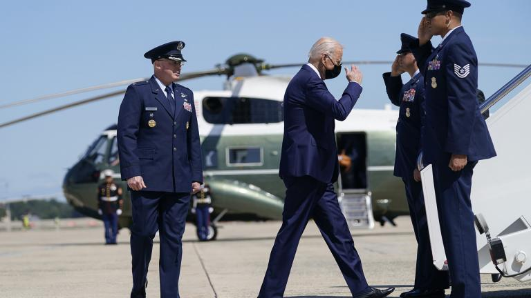 President Joe Biden returns a salute as he walks to board Air Force One to travel to Louisiana to view damage caused by Hurricane Ida, Friday, Sept. 3, 2021, in Andrews Air Force Base, Md. (AP Photo / Evan Vucci)